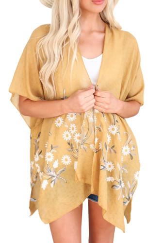 Yellow Spring Daisy Woven Kimono LC254253-7