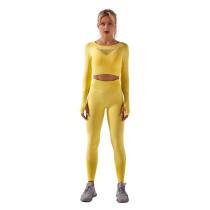 Yellow Sportswear Long Sleeve Yoga Pant Set TQK710179-7