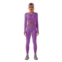 Purple Sportswear Long Sleeve Yoga Pant Set TQK710179-8