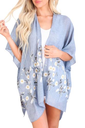 Sky Blue Spring Daisy Woven Kimono LC254253-4