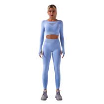 Light Blue Sportswear Long Sleeve Yoga Pant Set TQK710179-30