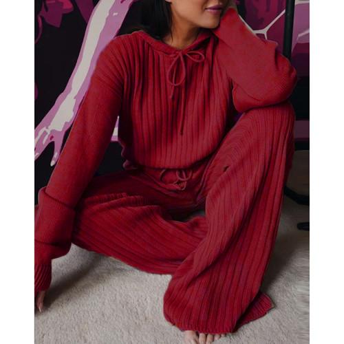 Wine Red Loose Fit Hooded Long Sleeve Pant 2pcs Set TQK710182-103