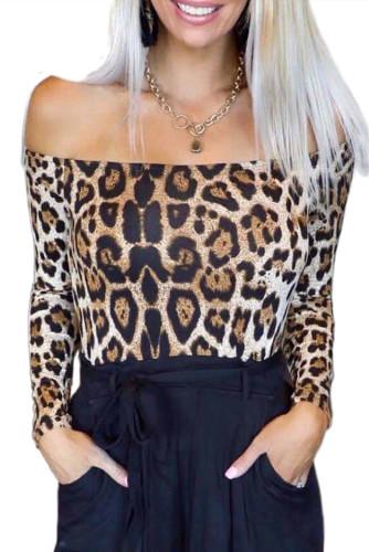 Long Sleeve Off Shoulder Leopard Bodysuit LC32489-20