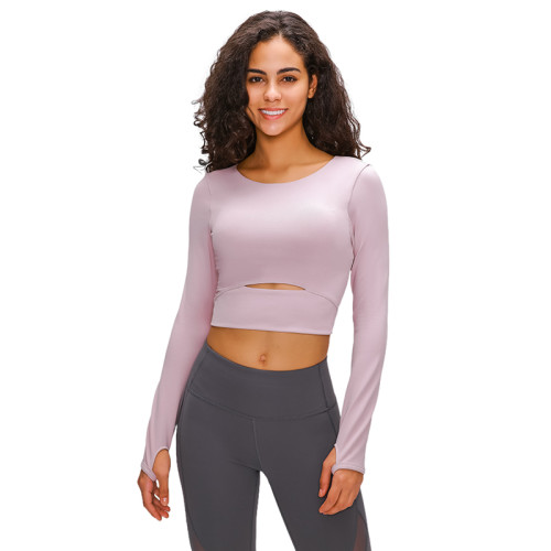 Dark Powder Hollow Out Sports Crop Top TQE21033-93