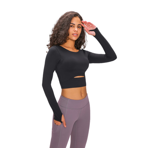 Black Hollow Out Sports Crop Top TQE21033-2