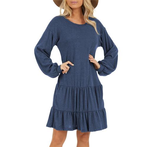 Navy Blue Ruffle Hem Pocketed Long Sleeve Dress TQK310415-34