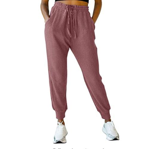 Brick Red Waffle Pocketed Drawstring Pants TQK520071-33