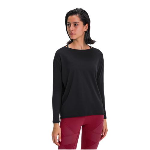 Black Breathable Long Sleeve Yoga T Shirt TQE21034-2