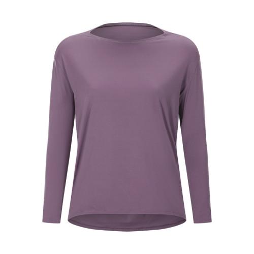 Taupe Breathable Long Sleeve Yoga T Shirt TQE21034-95