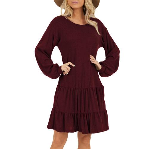 Wine Red Ruffle Hem Pocketed Long Sleeve Dress TQK310415-103