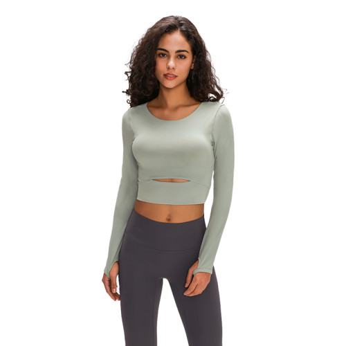 Greyish-green Hollow Out Sports Crop Top TQE21033-94