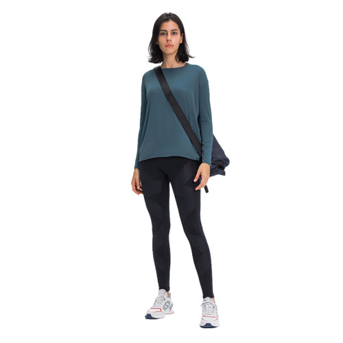 Forest Gray Green Breathable Long Sleeve Yoga T Shirt TQE21034-92