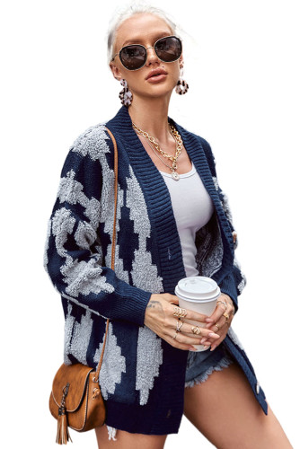 Blue Buttoned Patterned Knit Cardigan LC271286-5