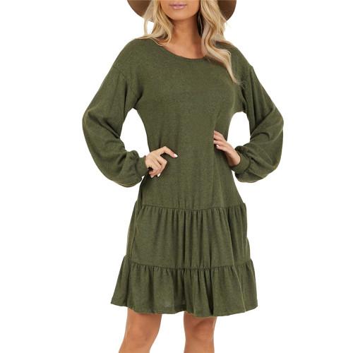 Army Green Ruffle Hem Pocketed Long Sleeve Dress TQK310415-27