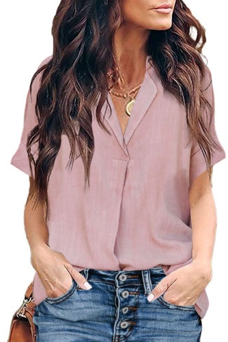 Pink Short Sleeve Button Solid Shirt LC255459-10