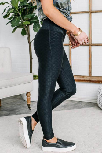 Black Just Making Moves Textured Leggings LC76128-2
