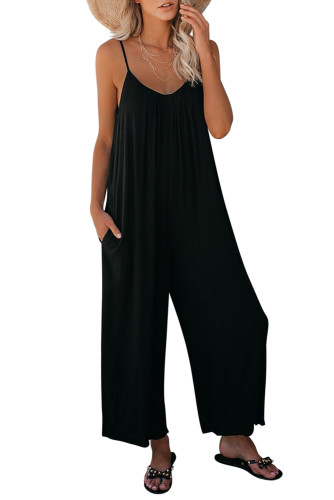 Black Spaghetti Straps Wide Leg Pocketed Jumpsuits LC641350-2