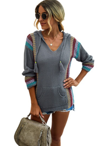 Gray Long Sleeve Striped Hooded Sweater LC272980-11