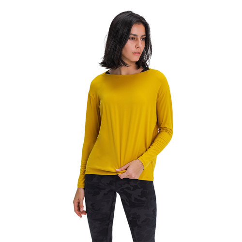Yellow Leaves Breathable Long Sleeve Yoga T Shirt TQE21034-53