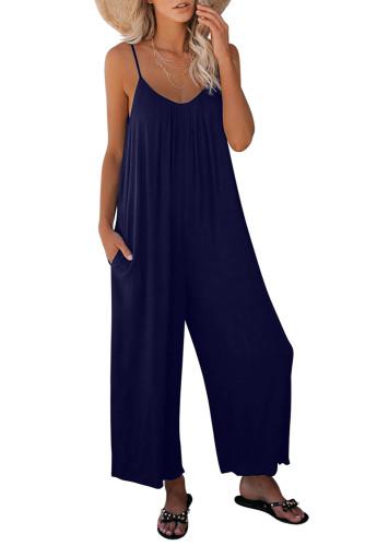 Dark Blue Spaghetti Straps Wide Leg Pocketed Jumpsuits LC641350-5