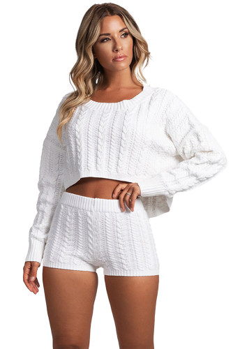 White Cable Knit Top And Shorts Two Piece Set LC451762-1