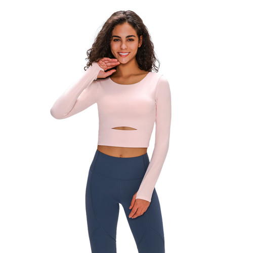 Light Pink Hollow Out Sports Crop Top TQE21033-39