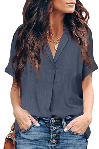 Short Sleeve Button Solid Shirt LC255459-11