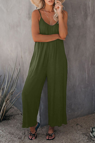Green Spaghetti Straps Wide Leg Pocketed Jumpsuits LC641350-9