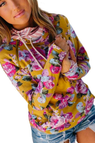 Yellow Cowl Neck Floral Print Hoodie with Striped Detail LC2533205-7