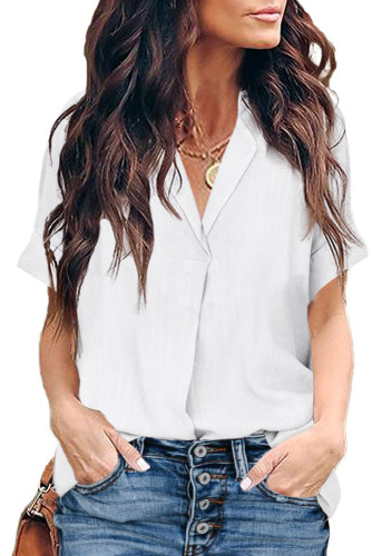White Short Sleeve Button Solid Shirt LC255459-1