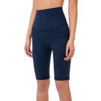 True Navy Solid High Waist Yoga Shorts TQE87037-89