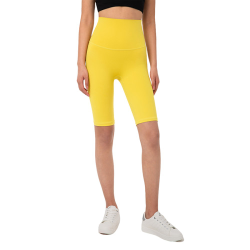 Yellow Solid High Waist Yoga Shorts TQE87037-7