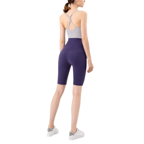 Midnight Blue Solid High Waist Yoga Shorts TQE87037-65