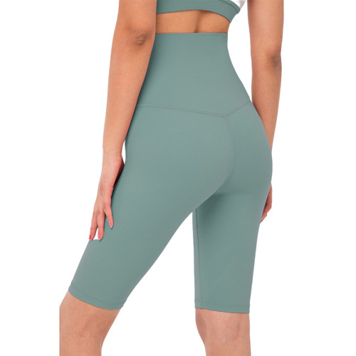 Tidewater Teal Solid High Waist Yoga Shorts TQE87037-91