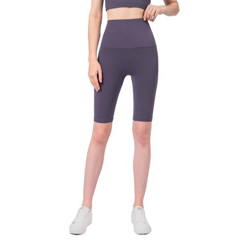 Purple Quartz Solid High Waist Yoga Shorts TQE87037-86
