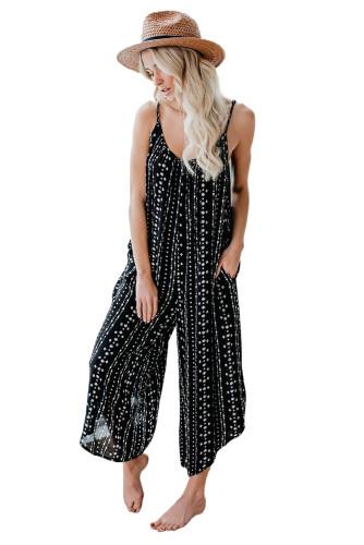 Black Printed Adjustable Wide-leg Jumpsuit LC641344-2