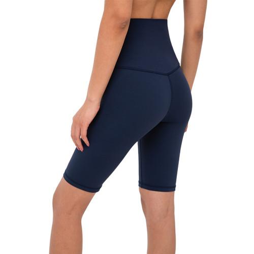 True Navy Solid High Waist Yoga Shorts TQE87037-89