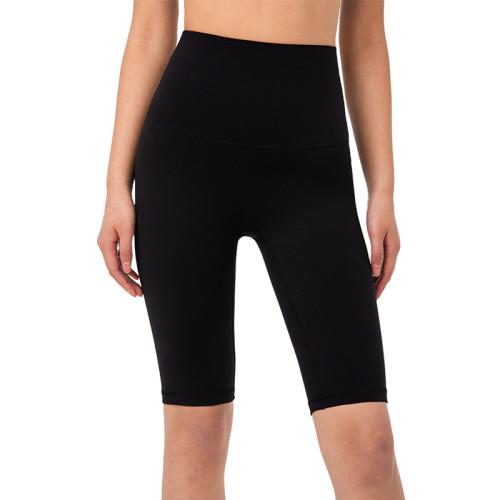 Black Solid High Waist Yoga Shorts TQE87037-2