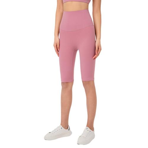 Pink Tupe Solid High Waist Yoga Shorts TQE87037-87