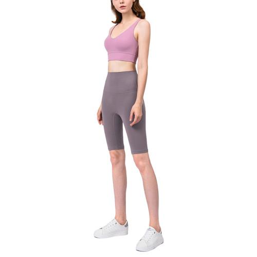 Ash Purple Solid High Waist Yoga Shorts TQE87037-88