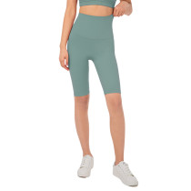 Tidewater Teal Solid High Waist Yoga Shorts TQE87037-91