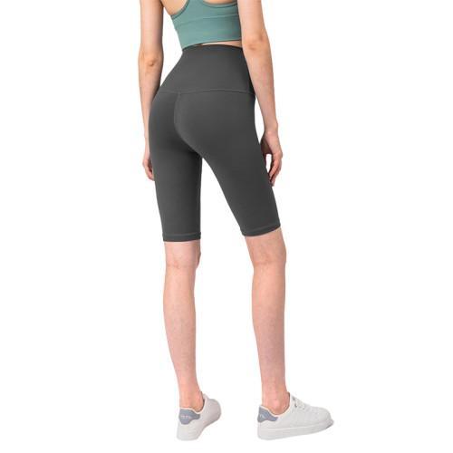 Graphite Grey Solid High Waist Yoga Shorts TQE87037-75