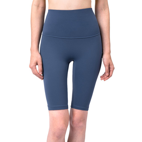 Ink Blue Solid High Waist Yoga Shorts TQE87037-81