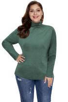 Green Plain Turtleneck Ribbed Plus Size Top LC2514616-9