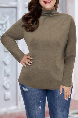 Khaki Plain Turtleneck Ribbed Plus Size Top LC2514616-16