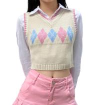 Apricot Retro Diamond Crop Tank Sweater TQK271203-18
