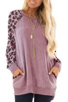 Pink Leopard Print Raglan Sleeve Casual Top LC2532391-10