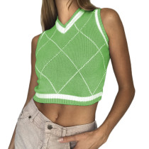 Green Diamond Print Tank Sweater TQK271200-9