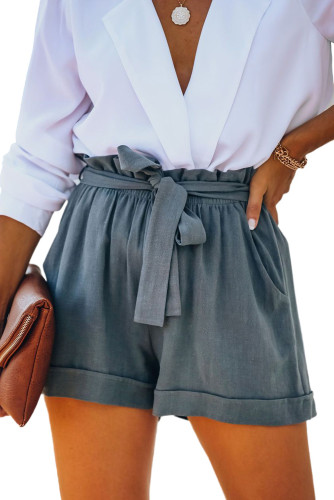 Gray Cotton Pocketed Paper Bag Waist Shorts LC77958-11