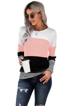 Pink Stylish Colorblock Splicing Stripes Top LC2511262-10